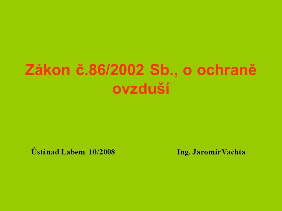 Zákon č.86/2002 Sb., o ochraně ovzduší Ústí nad Labem 10/2008 Ing. Jaromír Vachta