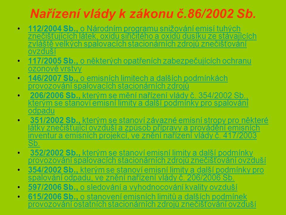 Nařízení vlády k zákonu č.86/2002 Sb.