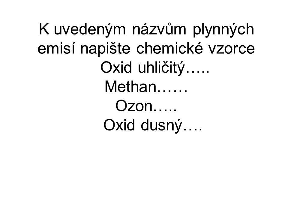 K uvedeným názvům plynných emisí napište chemické vzorce Oxid uhličitý…..