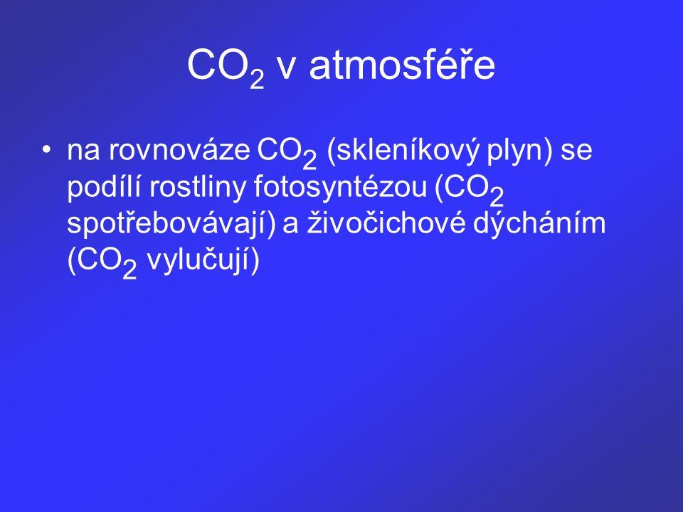 na rovnováze CO 2 (skleníkový plyn) se podílí rostliny fotosyntézou (CO 2 spotřebovávají) a živočichové dýcháním (CO 2 vylučují) CO 2 v atmosféře