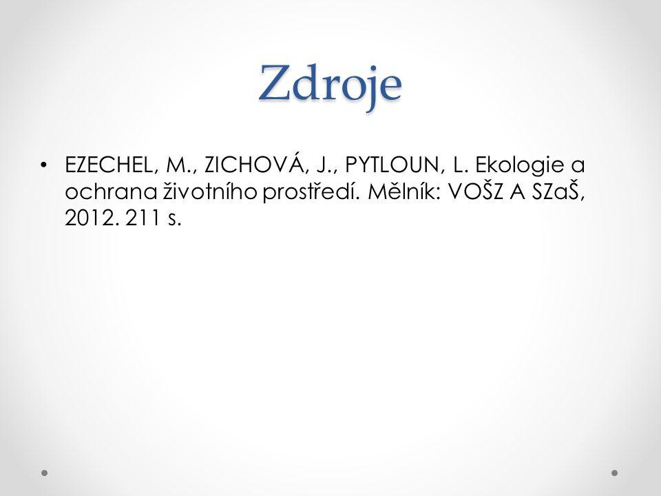 Zdroje EZECHEL, M., ZICHOVÁ, J., PYTLOUN, L. Ekologie a ochrana životního prostředí. Mělník: VOŠZ A SZaŠ, 2012. 211 s.