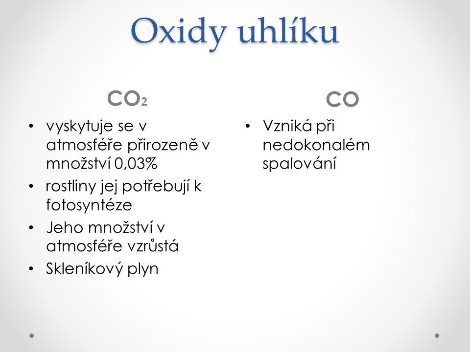 Oxidy uhlíku CO ₂ CO vyskytuje se v atmosféře přirozeně v množství 0,03% rostliny jej potřebují k fotosyntéze Jeho množství v atmosféře vzrůstá Skleníkový plyn Vzniká při nedokonalém spalování