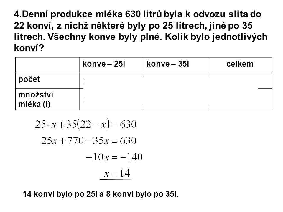 4.Denní produkce mléka 630 litrů byla k odvozu slita do 22 konví, z nichž některé byly po 25 litrech, jiné po 35 litrech.
