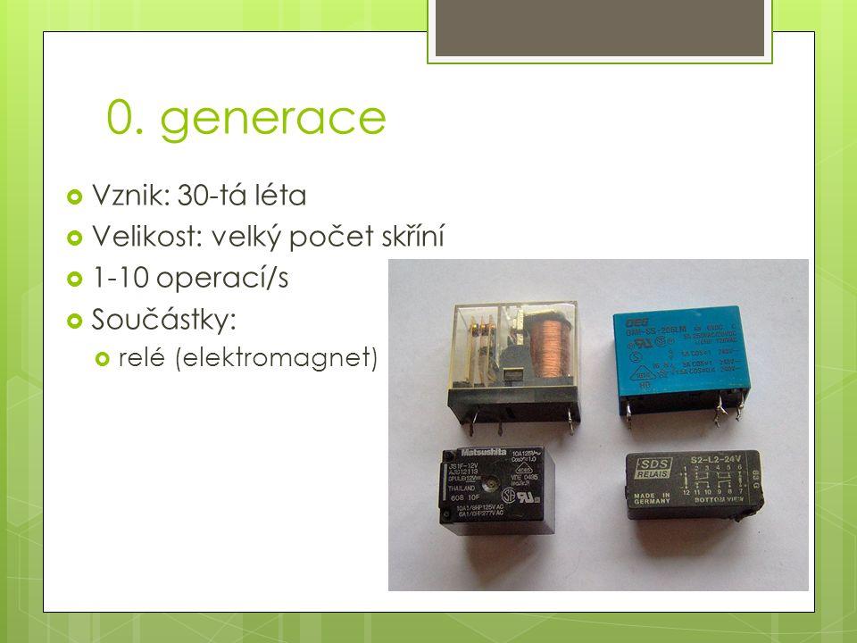 0. generace  Vznik: 30-tá léta  Velikost: velký počet skříní  1-10 operací/s  Součástky:  relé (elektromagnet)