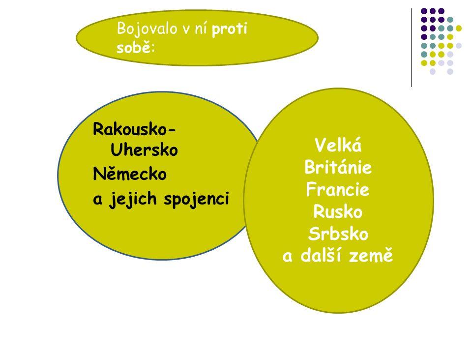 Bojovalo v ní proti sobě: Rakousko- Uhersko Německo a jejich spojenci Velká Británie Francie Rusko Srbsko a další země