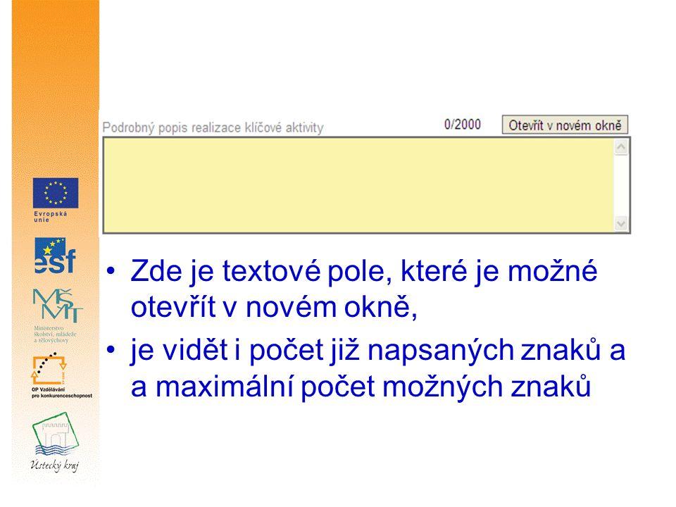 Zde je textové pole, které je možné otevřít v novém okně, je vidět i počet již napsaných znaků a a maximální počet možných znaků