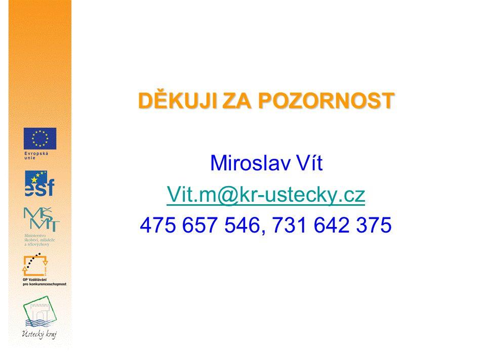 DĚKUJI ZA POZORNOST Miroslav Vít Vit.m@kr-ustecky.cz 475 657 546, 731 642 375
