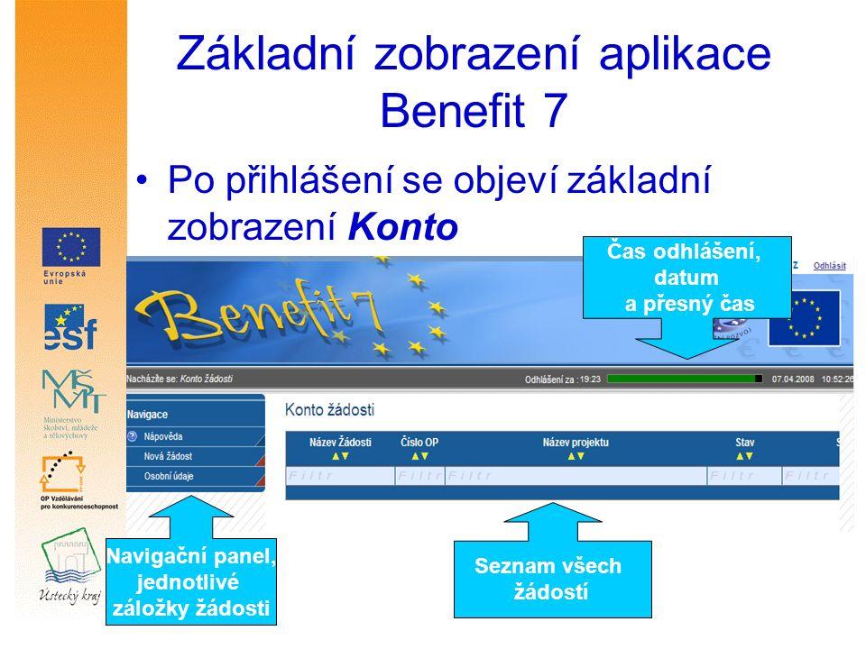 V navigačním panelu se objeví jednotlivé záložky dané žádosti, v pravé horní části zobrazení se odpočítává čas automatického odhlášení v případě nečinnosti