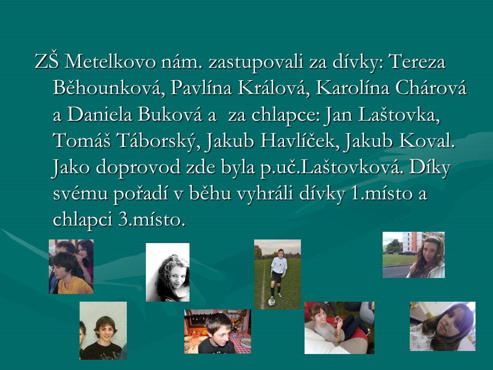 ZŠ Metelkovo nám. zastupovali za dívky: Tereza Běhounková, Pavlína Králová, Karolína Chárová a Daniela Buková a za chlapce: Jan Laštovka, Tomáš Tábors