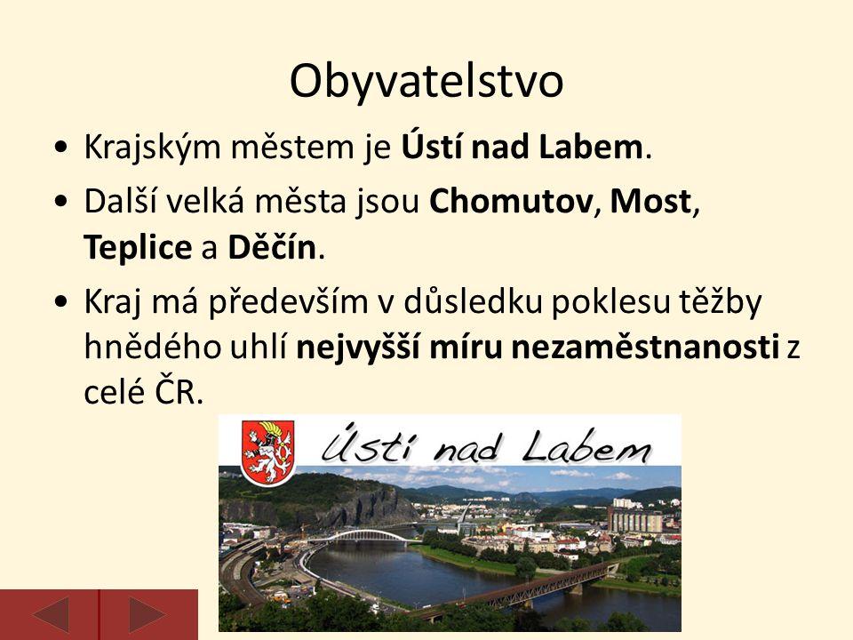 Krajským městem je Ústí nad Labem. Další velká města jsou Chomutov, Most, Teplice a Děčín. Kraj má především v důsledku poklesu těžby hnědého uhlí nej