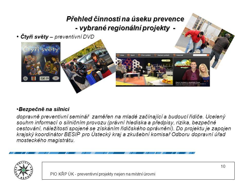 PIO KŘP ÚK - preventivní projekty nejen na místní úrovni 10 Přehled činnosti na úseku prevence - vybrané regionální projekty - Čtyři světy – Čtyři svě