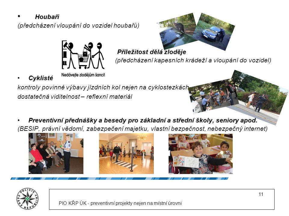 PIO KŘP ÚK - preventivní projekty nejen na místní úrovni 11 Houbaři Houbaři (předcházení vloupání do vozidel houbařů) Příležitost dělá zloděje Příleži