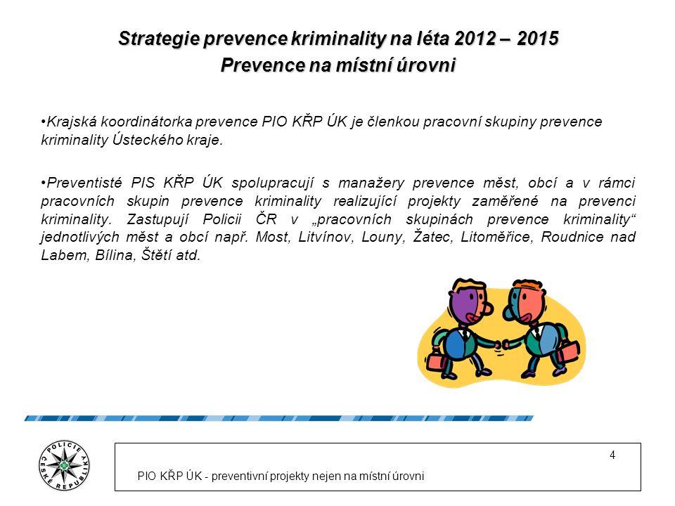 Strategie prevence kriminality na léta 2012 – 2015 Prevence na místní úrovni Krajská koordinátorka prevence PIO KŘP ÚK je členkou pracovní skupiny pre