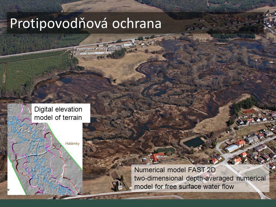 Retence sedimentů Digital elevation model of terrain Numerical model FAST 2D two-dimensional depth-averaged numerical model for free surface water flo
