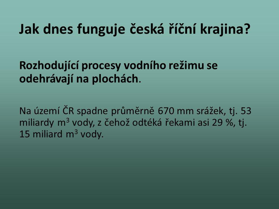 Rozhodující procesy vodního režimu se odehrávají na plochách. Na území ČR spadne průměrně 670 mm srážek, tj. 53 miliardy m 3 vody, z čehož odtéká řeka