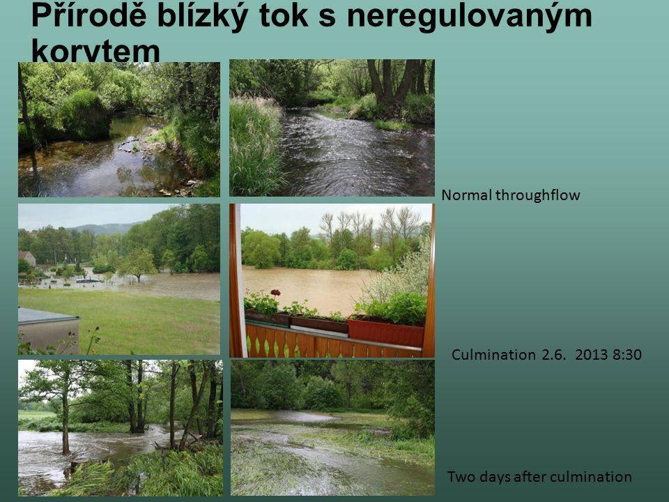 Přírodě blízký tok s neregulovaným korytem Culmination 2.6. 2013 8:30 Normal throughflow Two days after culmination