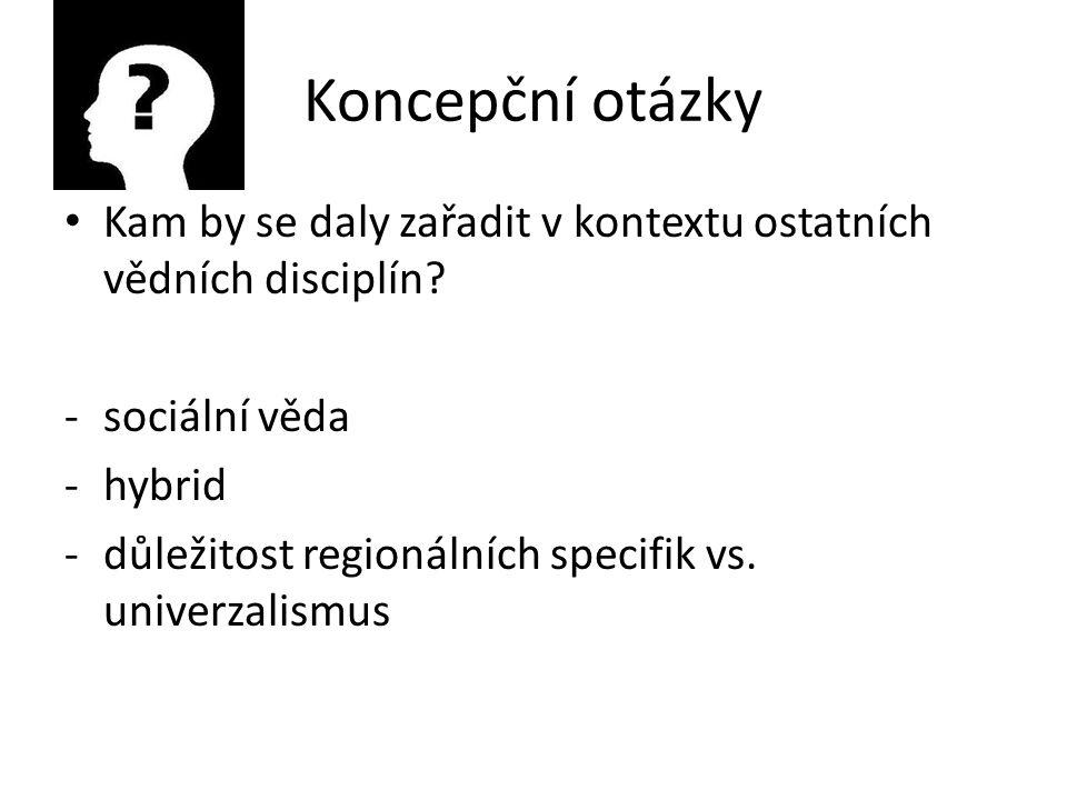 Koncepční otázky Kam by se daly zařadit v kontextu ostatních vědních disciplín.