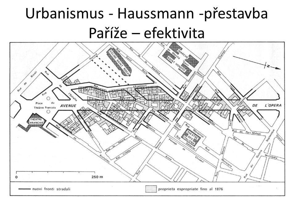 Urbanismus - Haussmann -přestavba Paříže – efektivita