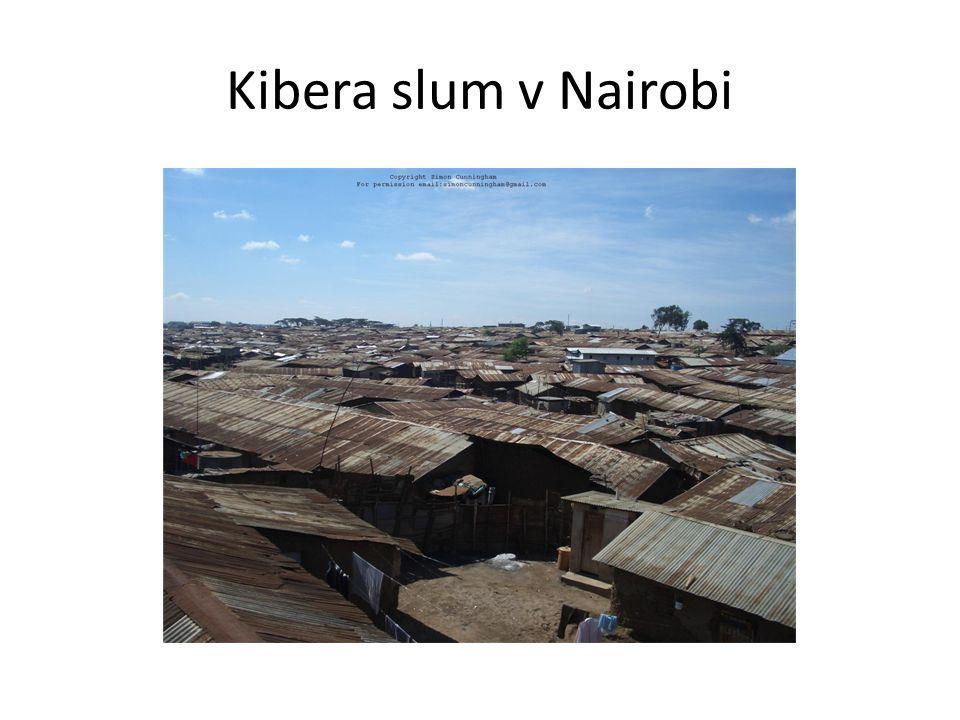 Kibera slum v Nairobi
