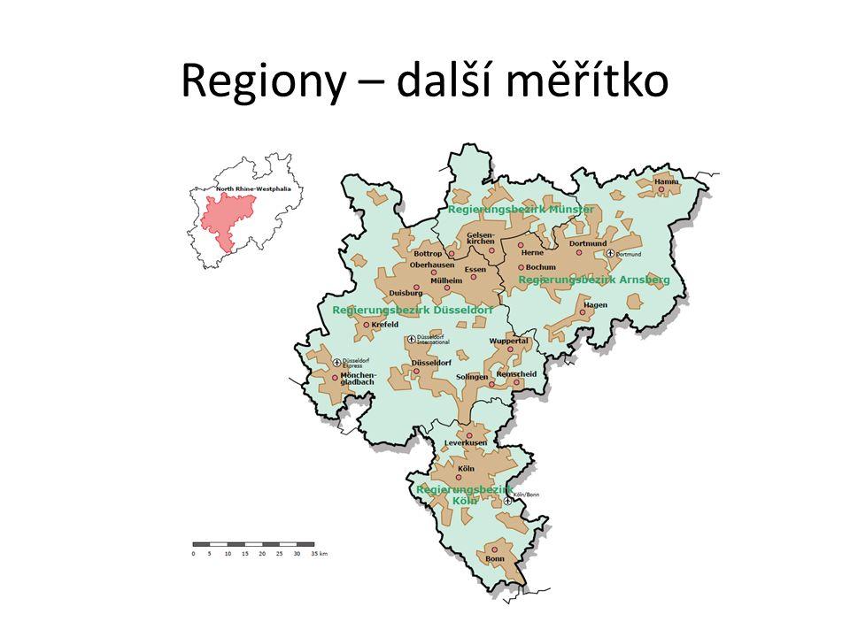 Regiony – další měřítko