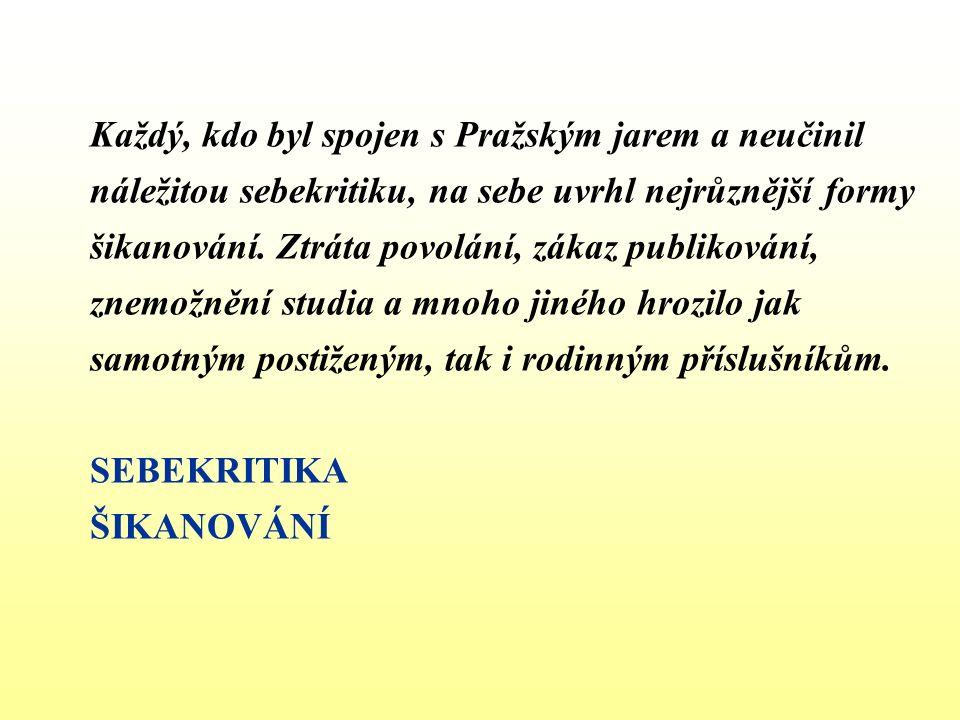 Každý, kdo byl spojen s Pražským jarem a neučinil náležitou sebekritiku, na sebe uvrhl nejrůznější formy šikanování. Ztráta povolání, zákaz publikován