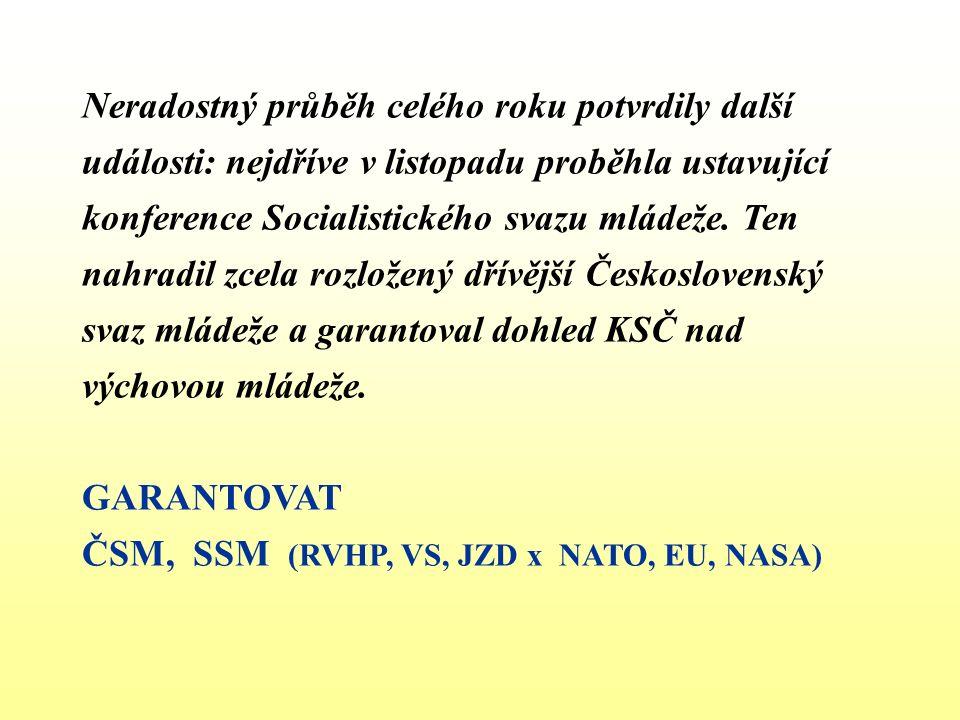 Neradostný průběh celého roku potvrdily další události: nejdříve v listopadu proběhla ustavující konference Socialistického svazu mládeže.