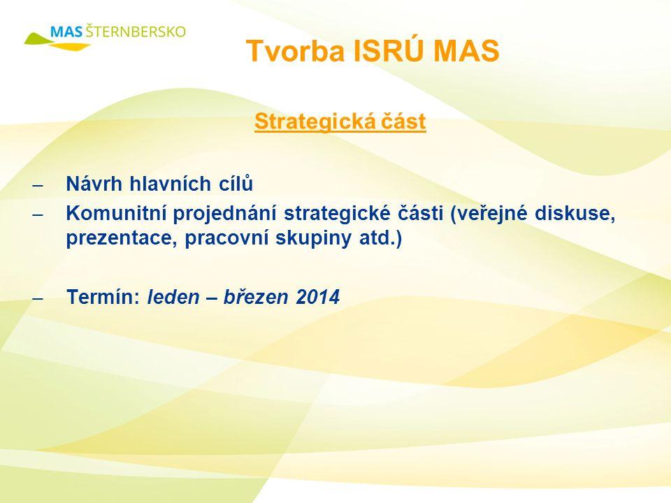 Tvorba ISRÚ MAS Strategická část ̶ Návrh hlavních cílů ̶ Komunitní projednání strategické části (veřejné diskuse, prezentace, pracovní skupiny atd.) ̶ Termín: leden – březen 2014
