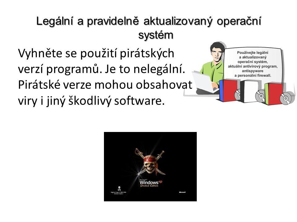 Legální a pravidelně aktualizovaný operační systém Vyhněte se použití pirátských verzí programů.