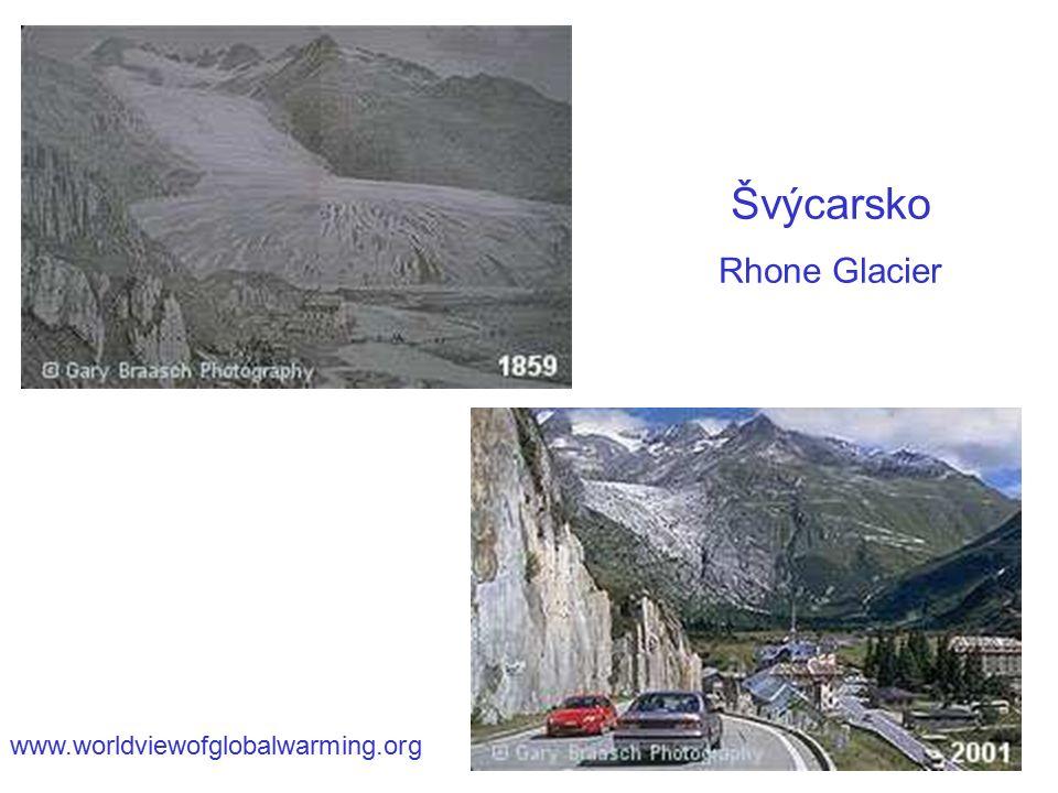 Švýcarsko Rhone Glacier www.worldviewofglobalwarming.org