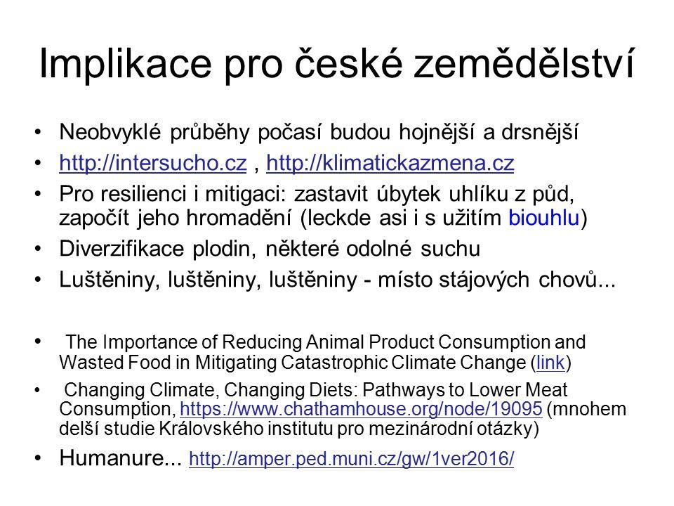 Implikace pro české zemědělství Neobvyklé průběhy počasí budou hojnější a drsnější http://intersucho.cz, http://klimatickazmena.czhttp://intersucho.cz