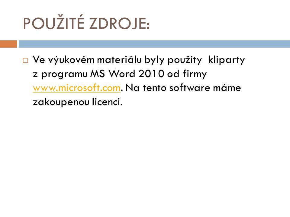 POUŽITÉ ZDROJE:  Ve výukovém materiálu byly použity kliparty z programu MS Word 2010 od firmy www.microsoft.com.
