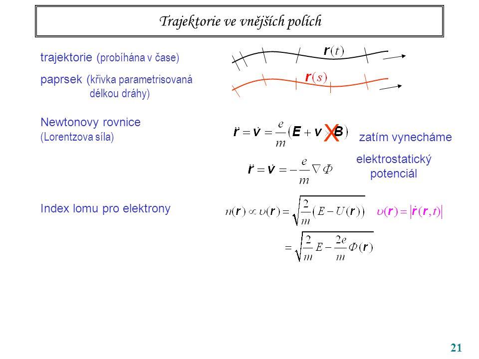 21 Trajektorie ve vnějších polích trajektorie ( probíhána v čase) paprsek ( křivka parametrisovaná délkou dráhy) Newtonovy rovnice (Lorentzova síla) Index lomu pro elektrony X zatím vynecháme elektrostatický potenciál