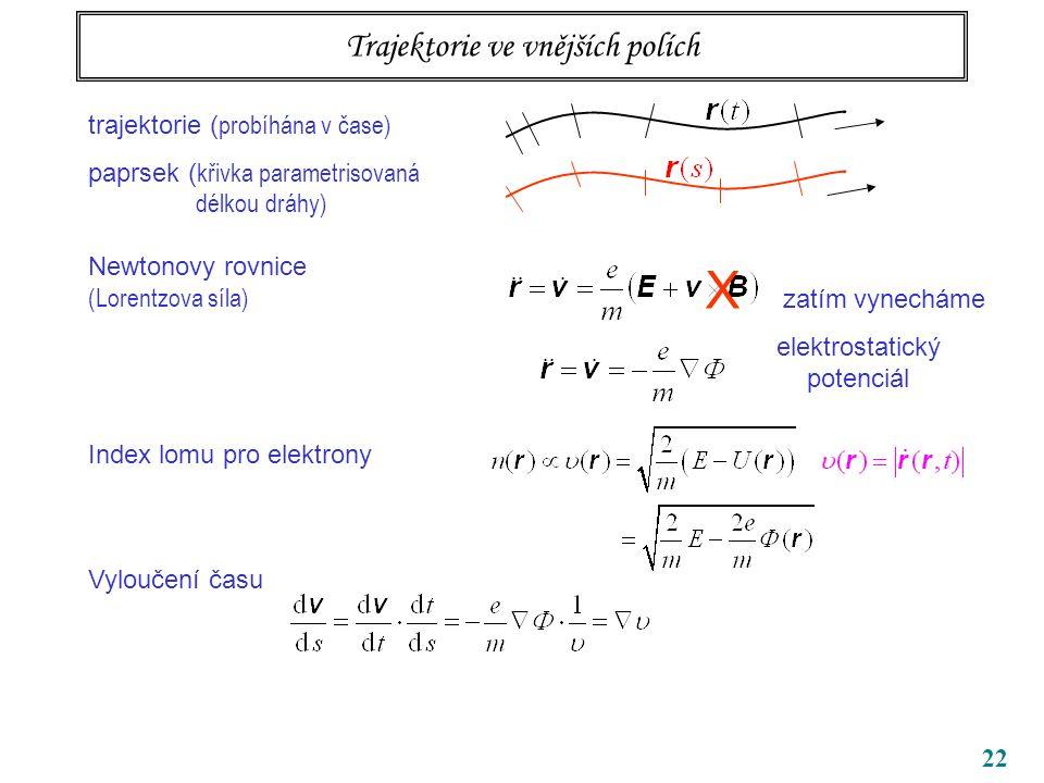 22 Trajektorie ve vnějších polích trajektorie ( probíhána v čase) paprsek ( křivka parametrisovaná délkou dráhy) Newtonovy rovnice (Lorentzova síla) Index lomu pro elektrony Vyloučení času X zatím vynecháme elektrostatický potenciál