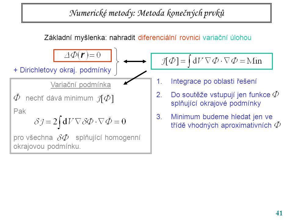 41 Variační podmínka nechť dává minimum Pak pro všechna splňující homogenní okrajovou podmínku.