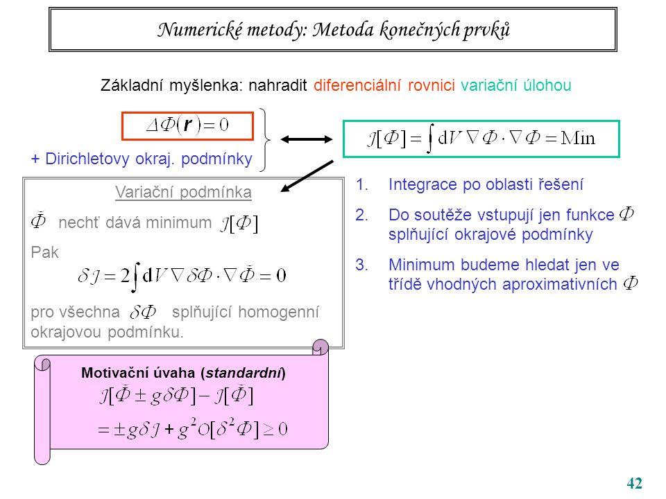 42 Variační podmínka nechť dává minimum Pak pro všechna splňující homogenní okrajovou podmínku.