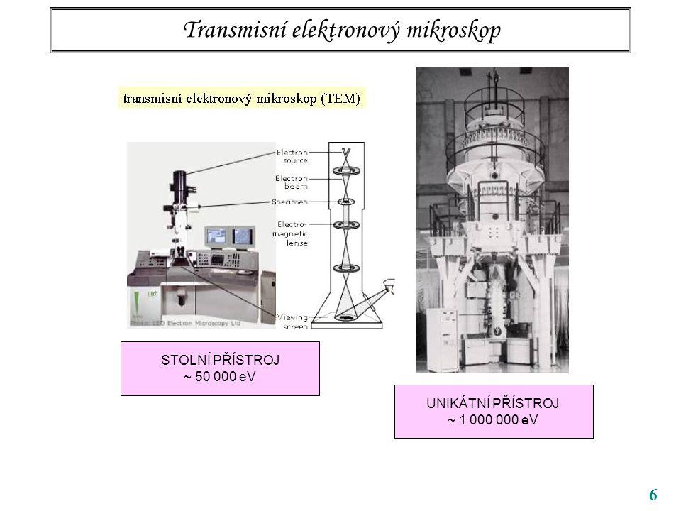 """17 Realistické vlnové délky elektronů v mikroskopu vlnové délky v pm (1 nm = 1000 pm) LIMITY (explicitní hodnoty platí pro elektrony) nerelativistická (""""naše ) předěl ultrarelativistická přístrojU keV pm stolní TEM505,46 velký TEM10001,22 SEM5 – 505,46 – 17.3 v podstatě vystačíme s korigovanou NR limitou viditelný obor"""