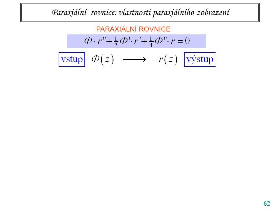 62 Paraxiální rovnice: vlastnosti paraxiálního zobrazení PARAXIÁLNÍ ROVNICE