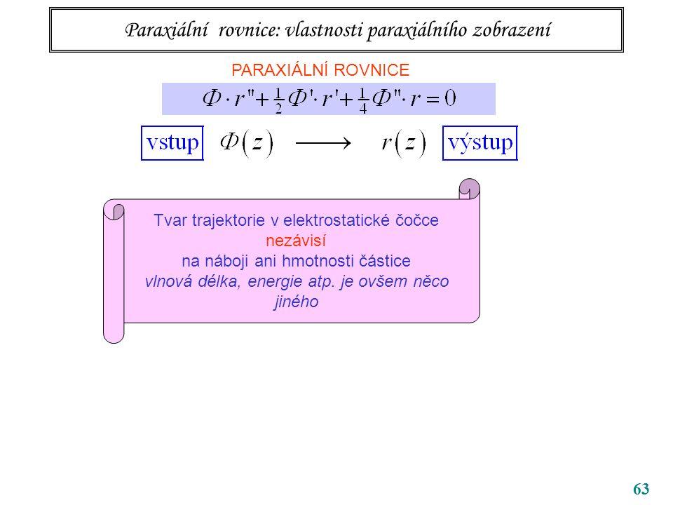 63 Paraxiální rovnice: vlastnosti paraxiálního zobrazení PARAXIÁLNÍ ROVNICE Tvar trajektorie v elektrostatické čočce nezávisí na náboji ani hmotnosti částice vlnová délka, energie atp.