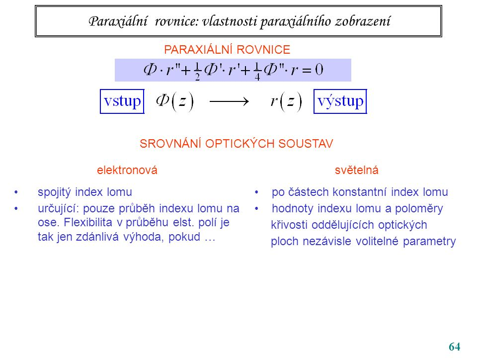 64 Paraxiální rovnice: vlastnosti paraxiálního zobrazení PARAXIÁLNÍ ROVNICE SROVNÁNÍ OPTICKÝCH SOUSTAV elektronová spojitý index lomu určující: pouze průběh indexu lomu na ose.