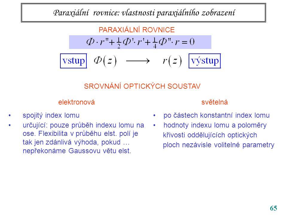 65 Paraxiální rovnice: vlastnosti paraxiálního zobrazení PARAXIÁLNÍ ROVNICE SROVNÁNÍ OPTICKÝCH SOUSTAV elektronová spojitý index lomu určující: pouze průběh indexu lomu na ose.