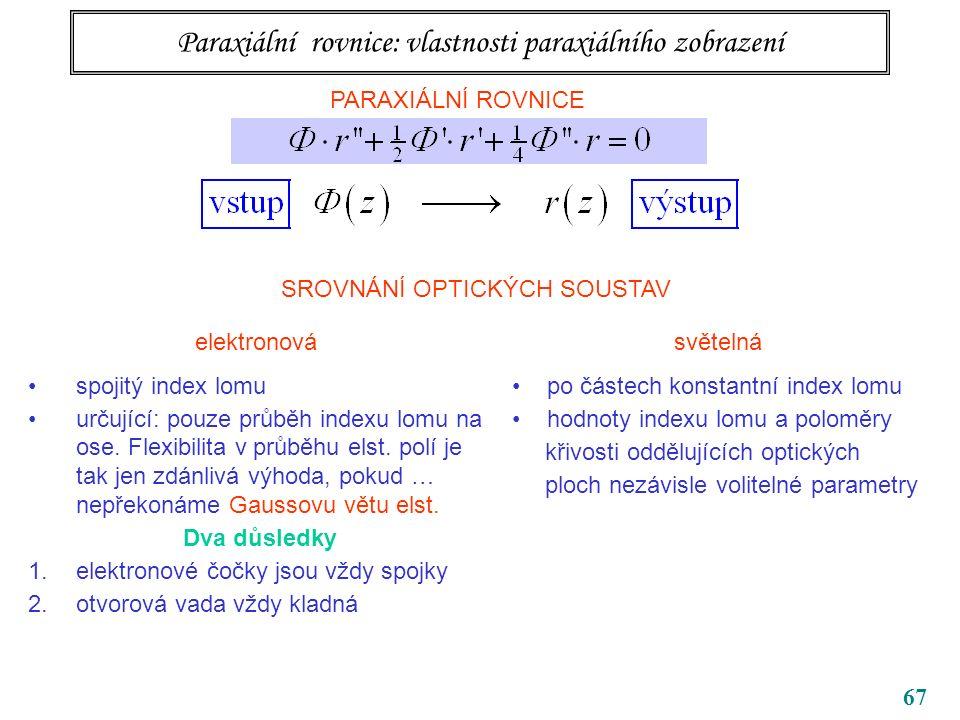 67 Paraxiální rovnice: vlastnosti paraxiálního zobrazení PARAXIÁLNÍ ROVNICE SROVNÁNÍ OPTICKÝCH SOUSTAV elektronová spojitý index lomu určující: pouze průběh indexu lomu na ose.