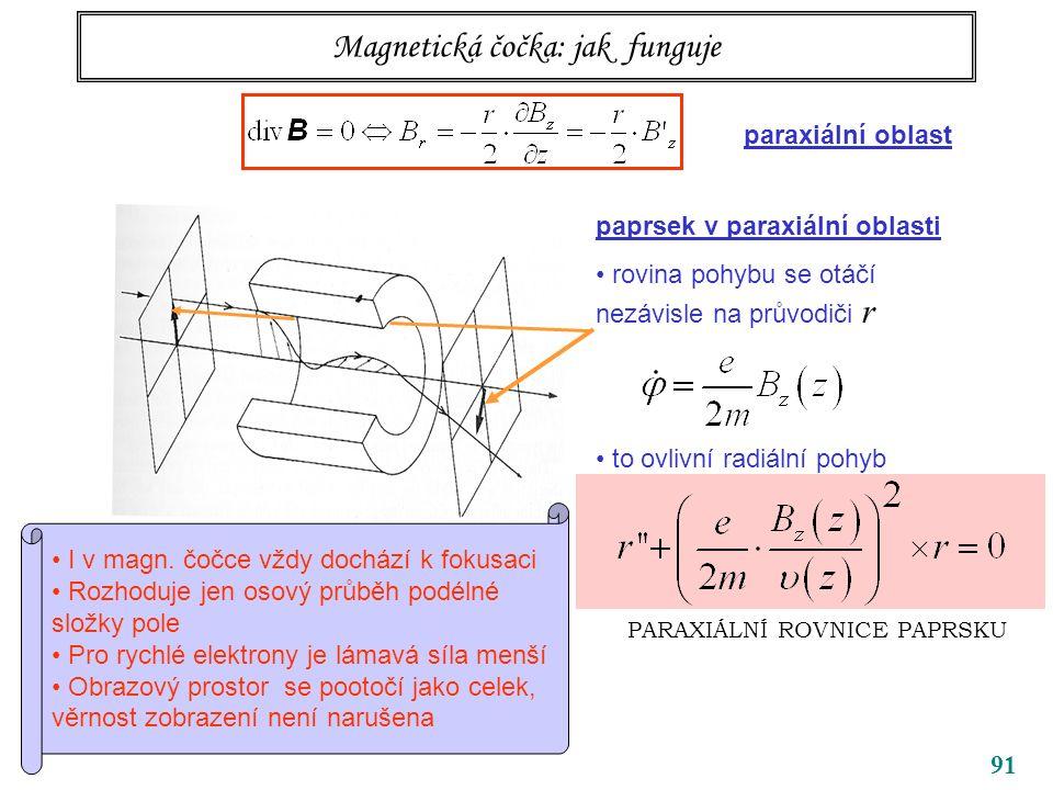91 Magnetická čočka: jak funguje paprsek v paraxiální oblasti rovina pohybu se otáčí nezávisle na průvodiči r to ovlivní radiální pohyb PARAXIÁLNÍ ROVNICE PAPRSKU paraxiální oblast I v magn.