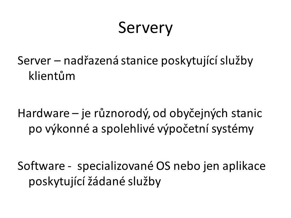 Servery Server – nadřazená stanice poskytující služby klientům Hardware – je různorodý, od obyčejných stanic po výkonné a spolehlivé výpočetní systémy Software - specializované OS nebo jen aplikace poskytující žádané služby