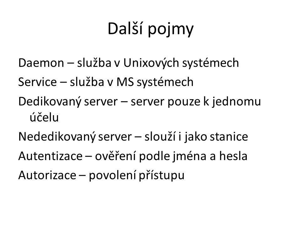 Další pojmy Daemon – služba v Unixových systémech Service – služba v MS systémech Dedikovaný server – server pouze k jednomu účelu Nededikovaný server – slouží i jako stanice Autentizace – ověření podle jména a hesla Autorizace – povolení přístupu