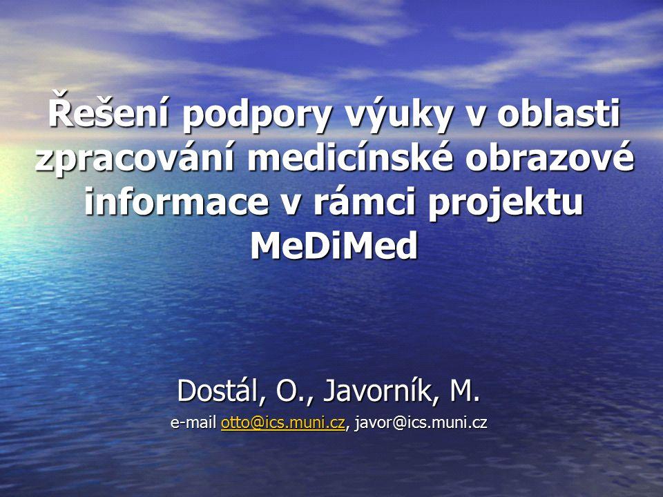 Řešení podpory výuky v oblasti zpracování medicínské obrazové informace v rámci projektu MeDiMed Dostál, O., Javorník, M.