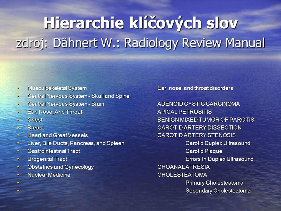 Hierarchie klíčových slov zdroj: Dähnert W.: Radiology Review Manual Musculoskeletal SystemEar, nose, and throat disorders Musculoskeletal SystemEar,