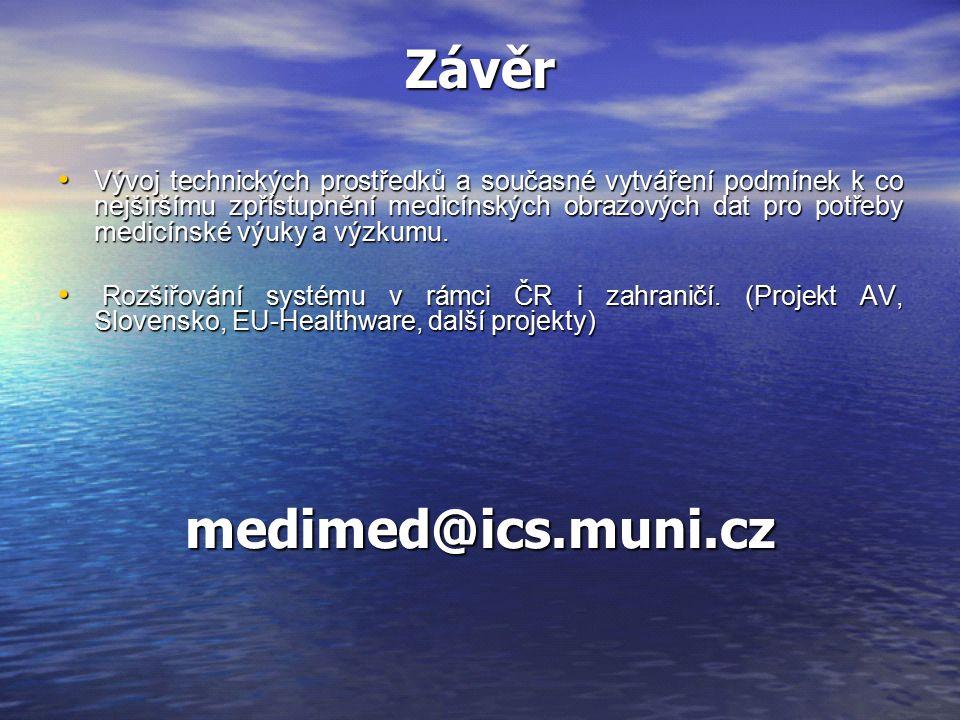 Závěr Vývoj technických prostředků a současné vytváření podmínek k co nejširšímu zpřístupnění medicínských obrazových dat pro potřeby medicínské výuky a výzkumu.