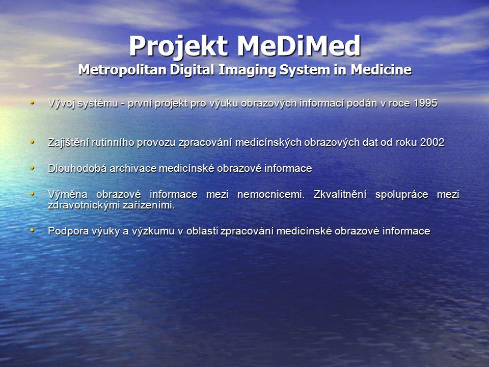 Projekt MeDiMed Metropolitan Digital Imaging System in Medicine Vývoj systému - první projekt pro výuku obrazových informací podán v roce 1995 Vývoj systému - první projekt pro výuku obrazových informací podán v roce 1995 Zajištění rutinního provozu zpracování medicínských obrazových dat od roku 2002 Zajištění rutinního provozu zpracování medicínských obrazových dat od roku 2002 Dlouhodobá archivace medicínské obrazové informace Dlouhodobá archivace medicínské obrazové informace Výměna obrazové informace mezi nemocnicemi.