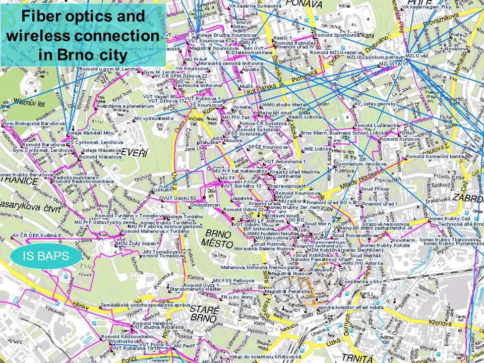 Fiber optics and wireless connection in Brno city IS BAPS