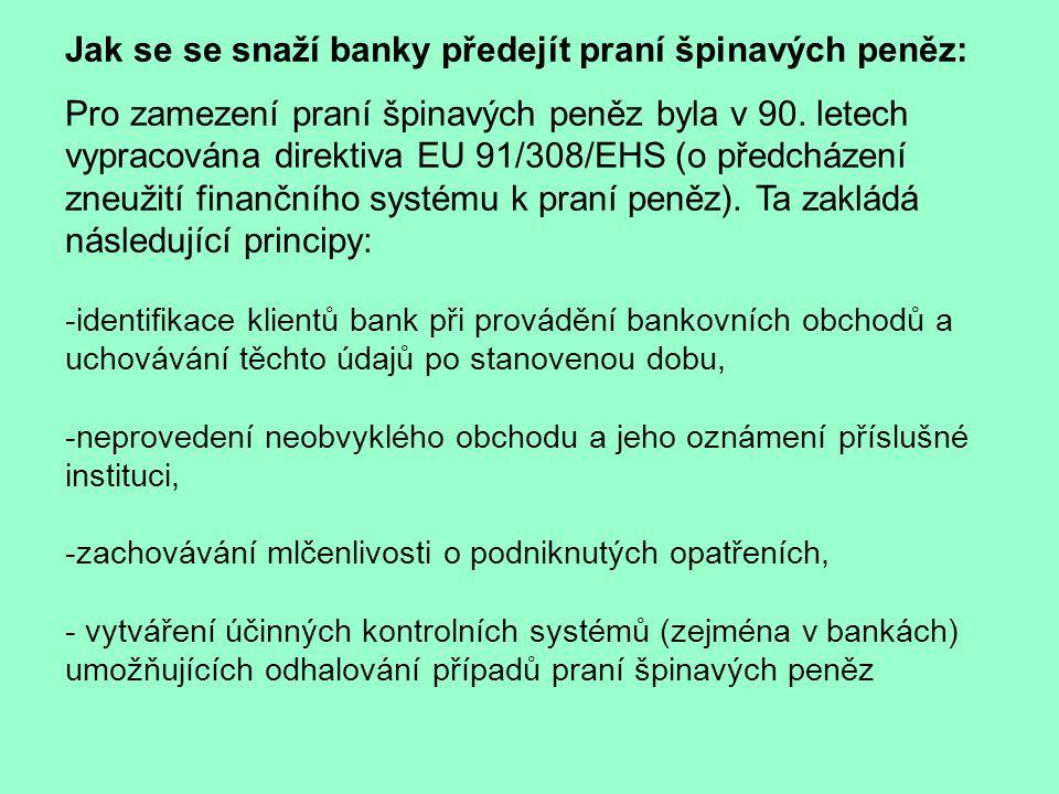 Jak se se snaží banky předejít praní špinavých peněz: Pro zamezení praní špinavých peněz byla v 90.